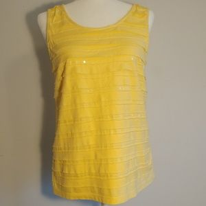 Chico's Yellow Tank with Sequin Detail Size 1